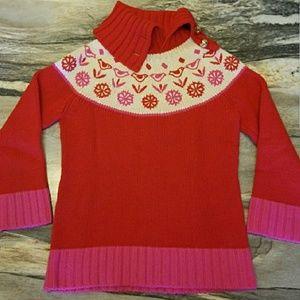 {kate spade} Merino Wool Pink & Red Bird Sweater
